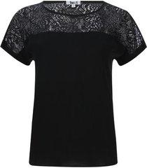blusa con encaje color negro, talla 12