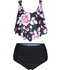 floral print high waisted tankini swimwear