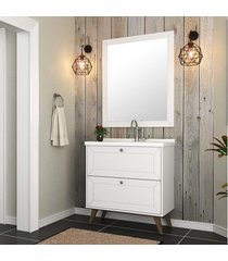 conjunto gabinete 80cm banheiro branco rãºstico mdf lilies - branco - dafiti