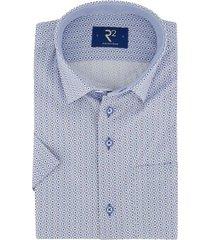 r2 shirt korte mouw lichtblauw geprint