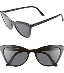 women's prada 56mm cat eye sunglasses - black solid