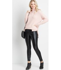 maurices womens solid turtle neck boyfriend pullover sweater pink