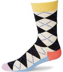 happy socks men's argyle knit crew socks - black white - size 10-13