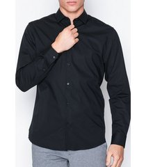 selected homme slhslimpreston-clean shirt ls b noo t-shirts & linnen svart