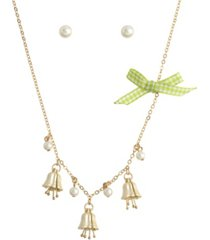 betsey johnson lily flower charm necklace pearl stud earrings set