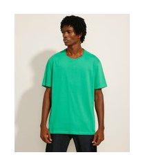 camiseta básica manga curta gola careca verde 2