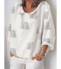 camicetta da donna manica lunga con scollo a cuore stampato lettere