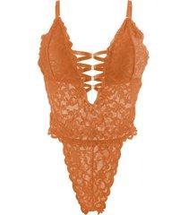 body encajes delicado naranjo baziani