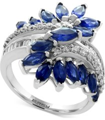 effy sapphire (3-1/5 ct. t.w.) & diamond (3/8 ct. t.w.) ring in 14k white gold