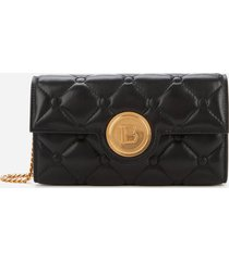 balmain women's agneau matelasse quilted wallet on chain bag - black