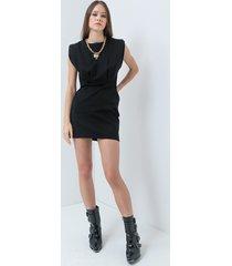 motivi vestito a tubino con spalline imbottite donna nero