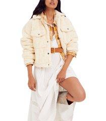 women's free people teddy swing jacket, size small - ivory