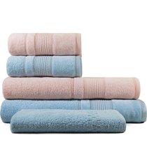 jogo de toalhas de banho 5 peças fio penteado appel splendore aurora  rosê