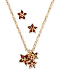 charter club gold-tone poinsettia pendant necklace & stud earrings set, created for macy's