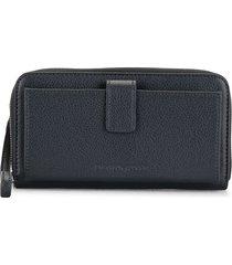 emporio armani zip-up leather wallet - blue