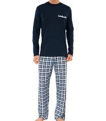 schiesser pyjama donkerblauw ruit