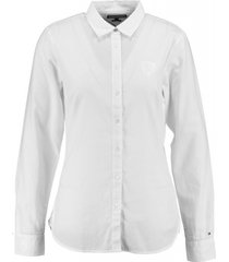 tommy hilfiger classic white fitted blouse twill katoen