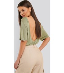 na-kd viscose deep back tee - green