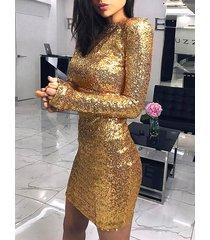 lentejuelas doradas adornadas redondas cuello mangas largas vestido
