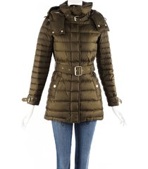 burberry green down filled belted hooded puffer coat green sz: xs