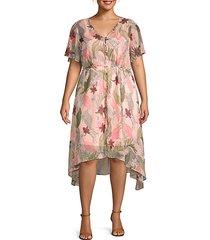 plus havana button-front floral dress