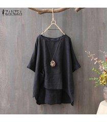 zanzea camiseta de verano para mujer tops asimétrico alto bajo camiseta blusa tallas grandes -negro