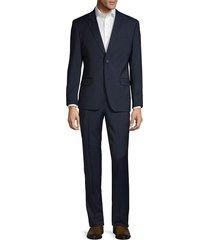 ben sherman men's slim-fit textured wool blend suit - navy - size 44 r