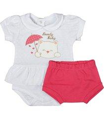 conjunto de bebê curto tapa fralda cereja e body branco branco