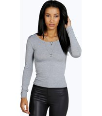 basic round neck long sleeve top, grey marl