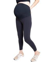 ingrid & isabel(r) crossover panel(r) waist 7/8 active maternity leggings, size large in black at nordstrom