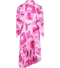 pleated accessories printed dress