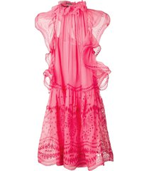alberta ferretti embroidered flared dress - pink