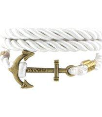 unisex multilayer handmade rope wristband anchor bracelet-white