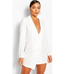 collarless double breasted blazer dress, white