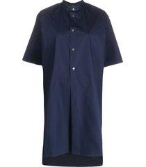 fay oversized collarless shirt dress - blue
