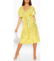 bridesmaid sequin cape detail midi dress, lemon