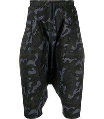 alchemy camouflage drop-crotch shorts - black
