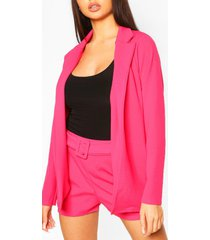 blazer & self fabric belt short suit set, hot pink