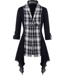 plus size asymmetric plaid panel shawl collar knit cardigan