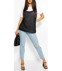 2in1 contrast turn up sleeve t-shirt, black