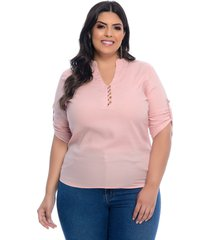 blusa plus size camisaria prelúdio rosê viscolinho