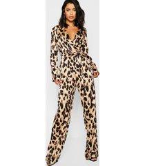 satijnen luipaardprint jumpsuit met kraag, tan
