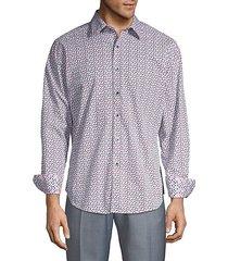 floral-print button-down shirt
