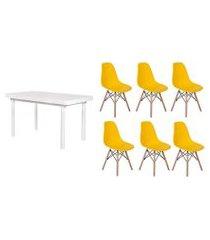kit mesa de jantar frança 160x80 branca + 06 cadeiras charles eames - amarela