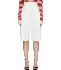 belted front pleat shorts