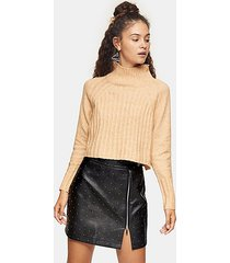 camel ribbed cropped funnel neck knitted sweater - camel