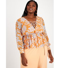 nina parker trendy plus size lace-up blouse, created for macy's