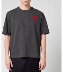 ami men's embroidered chain stitch de coeur t-shirt - heather grey - l