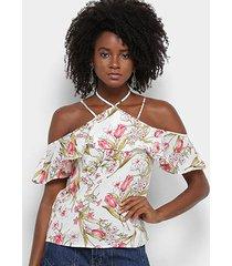 blusa lily fashion floral babado feminina