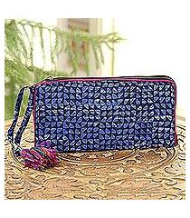 batik cotton wallet, 'magical triangles in navy' (india)
